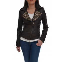 MINORONZONI genuine leather jacket with studs, biker model nail, closed with a diagonal zipper, two zip pockets, flaps on the shoulders, wrists zip, lined in pure cotton, dark color, slim fit.Model wears a size S
