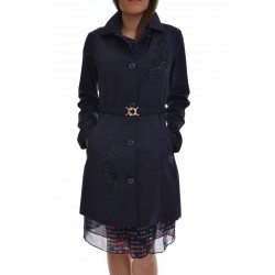 GEOSPIRIT Coat double semi-dull nylon with lace applications, central locking with buttons, elastic belt on the waist, detachable collar, two pockets, logo application on the left wrist, blue, regular fit.Model wears a size 42