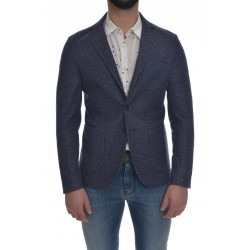 EXIBIT two-button jacket, deconstructed and unlined, jersey, intermeshed network fabric, polka dot pattern, two patch pockets on the bottom and a breast pocket, center back vent, blue, slim fit.The model wears size 48