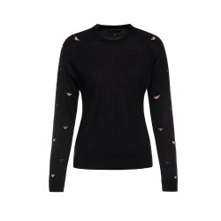 EMPORIO ARMANI Black women's sweater, decorated with an embroidered logo motif, crew-neck, elasticated hem, regular fit.