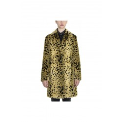 CANADIAN Fur coat for women with animal print design, natural color, button closure, slim fit.
