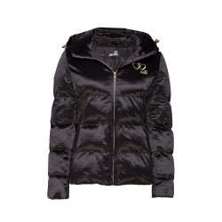 LOVE MOSCHINO Short women's jacket with embroidery, quilted, hood, regular fit.