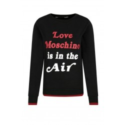 LOVE MOSCHINO Felpa girocollo donna LOVE MOSCHINO IS IN THE AIR, vestibilità regolare, polsini e fondo elasticizzato a costine con bordino a contrasto.